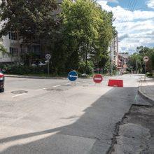 Lietus nuplovė Žemaičių gatvės kalną: uždarytas eismas