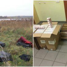 Prie Jurgionių tvenkinio kontrabandininkai neteko 3 tūkst. pakelių cigarečių