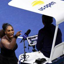 Teniso žvaigždei S. Williams už pykčio protrūkį skirta 17 tūkst. dolerių bauda