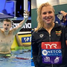 Plaukikai R. Meilutytė ir D. Rapšys Kinijoje iškovojo sidabro medalius