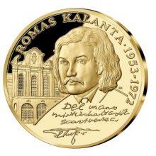 Medalis su R. Kalantos atvaizdu ir priešmirtinio raštelio žodžiais