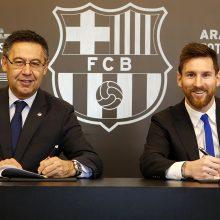 """Sutartį pratęsę """"Barcelona"""" ir L. Messi sutarė ir dėl naujo galimos išpirkos dydžio"""