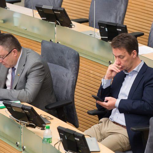 B. Markauskas atsakė į Seimo narių klausimus  © V. Skaraičio / BFL nuotr.