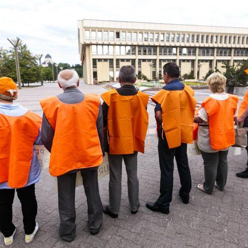 """""""Solidarumas"""" protestavo prieš mokesčių reformą  © G. Bartuškos / ELTOS nuotr."""
