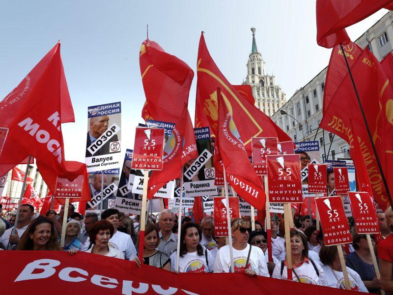Rusijoje vyko protestai prieš pensijų reformą