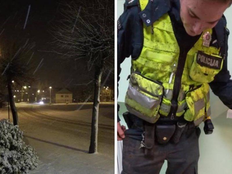 Policininkai: pirmas sniegas – tikras darbo malonumas