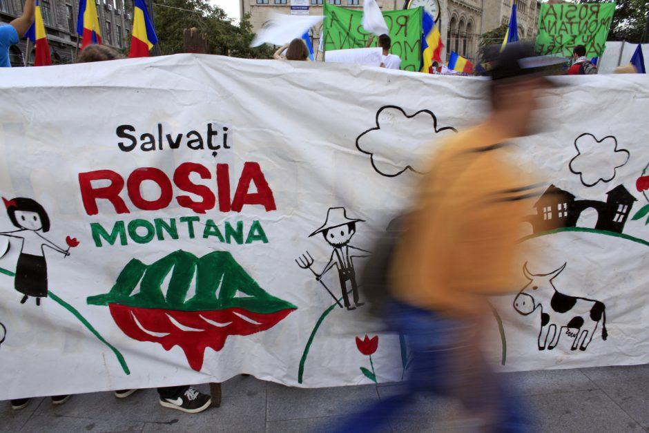 Ant Rumunijos ambasados - šūkiai už Transilvanijos kalnų grožio išsaugojimą