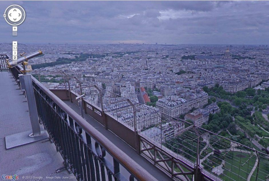 """""""Google"""" paslauga """"Street View"""" nuo šiol leidžia pasižvalgyti ir iš Eifelio bokšto"""