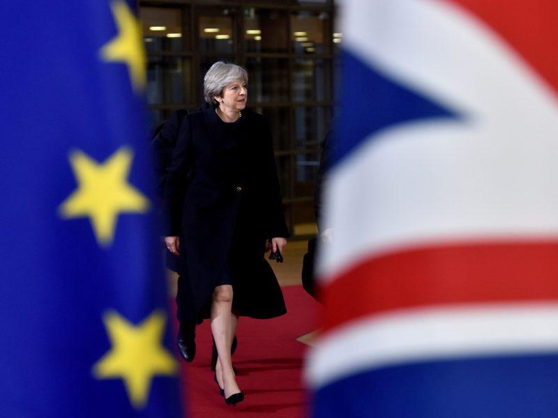 """Th. May paprašė parlamentarų daugiau laiko """"Brexit"""" deryboms"""