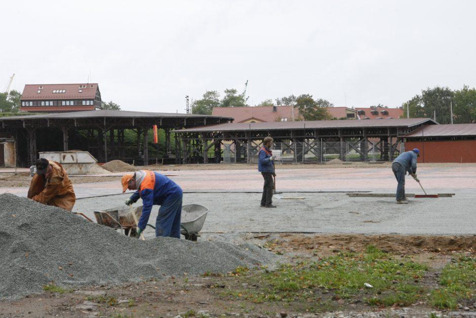 Klaipėdos piliavietėje – ir griovimo, ir statybos darbai