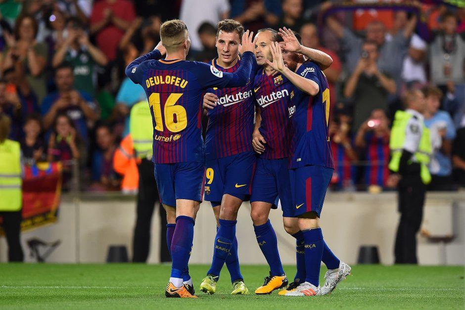 """Be lyderių žaidusi """"Barcelona"""" triuškino varžovus Ispanijos taurės šešioliktfinalyje"""