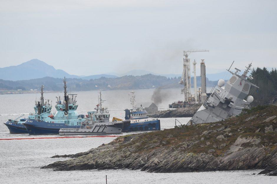 Prie Norvegijos krantų susidūrė tanklaivis ir fregata, yra sužeistųjų