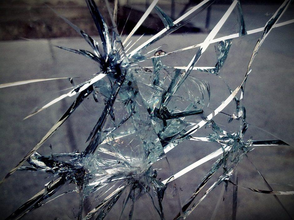 Neblaivi moteris išspyrė Alytaus policijos pastato durų stiklą