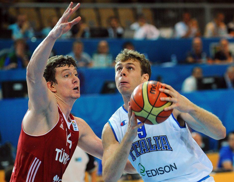 Italijos krepšininkai įveikė antrąją nesėkmę patyrusius turkus