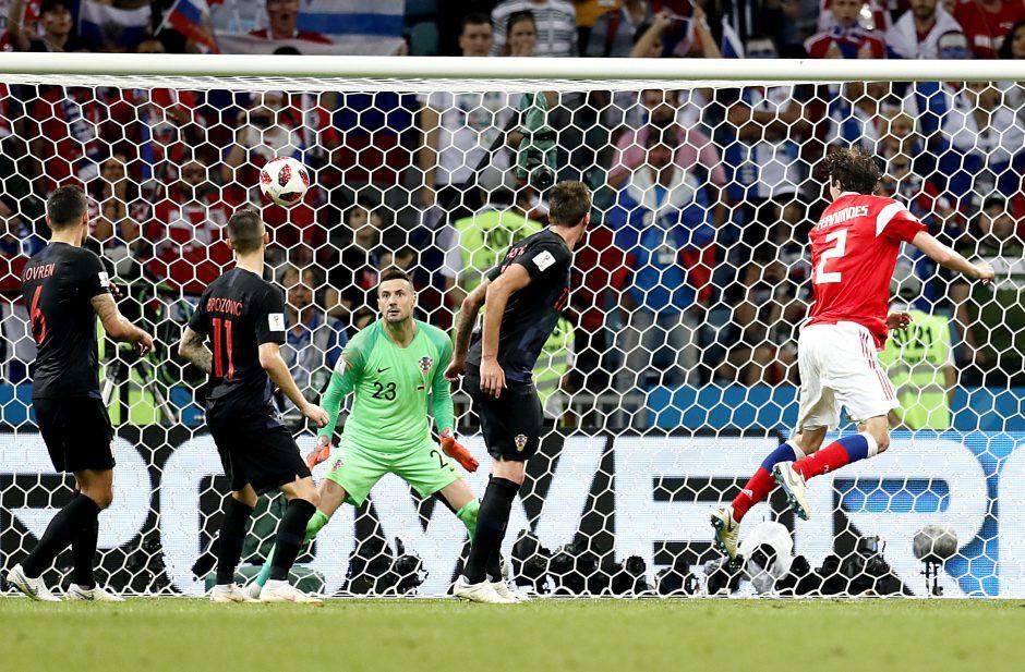 Kroatai po 11 metrų baudinių serijos iš pasaulio čempionato eliminavo rusus