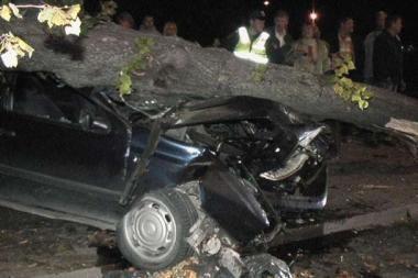 Įtariama, kad keturis automobilius apdaužė neblaivus vairuotojas