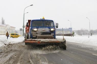 Sniegą Klaipėdoje keičia šaltis