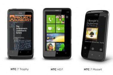 """HTC pristatė 5 išmaniuosius telefonus su """"Windows Phone 7"""""""