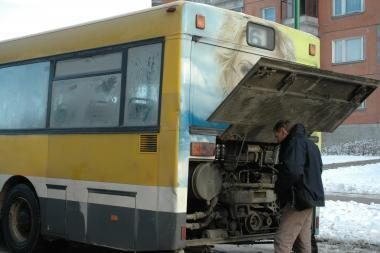Dėl šalčio nedirbo septyni miesto autobusai