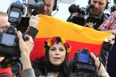 Vilniuje - protestas prieš tariamą Vokietijos profesinės sąjungos persekiojimą