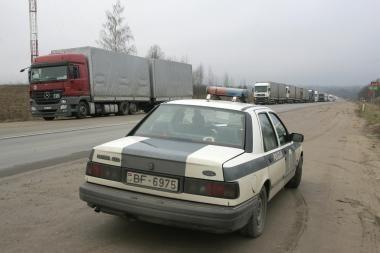 Kybartų punkte - Rusijos vairuotojų blokada
