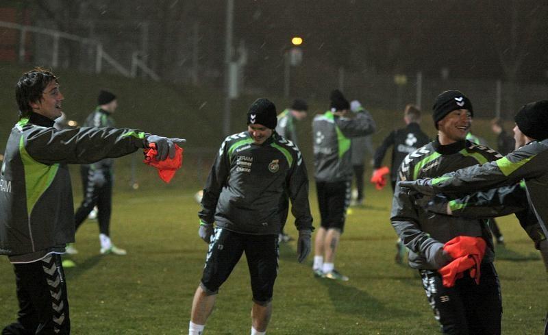 Pirmoje Lietuvos futbolo rinktinės treniruotėje Austrijoje – šlapdriba