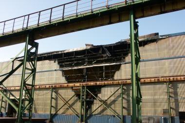 Laivų statykloje kilo gaisras