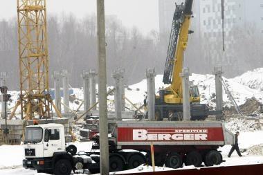 Pradėtos montuoti Klaipėdos arenos kolonos