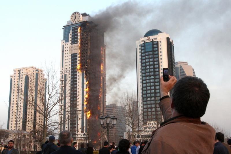 Čečėnijos prezidentas: gaisras Grozno dangoraižyje įvyko Dievo valia