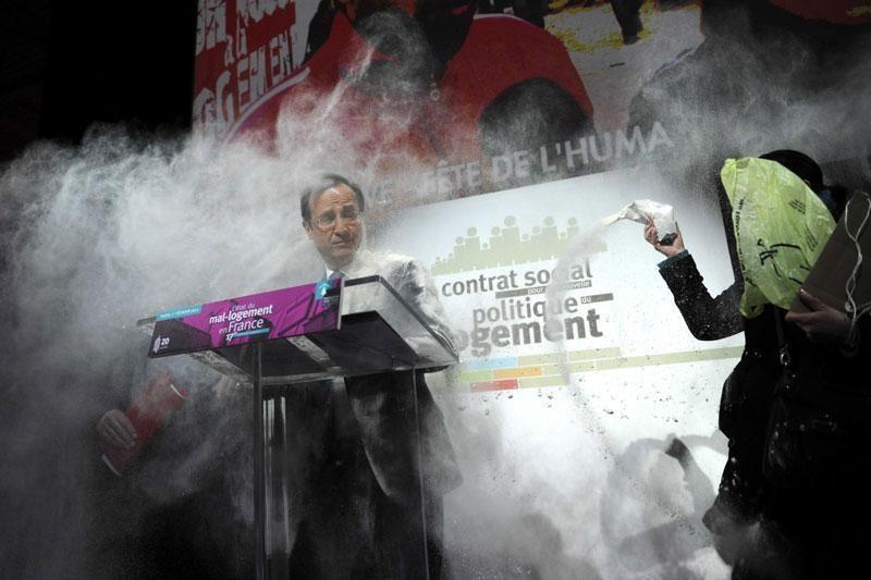 Prancūzijos kandidatas į prezidentus buvo apibertas miltais