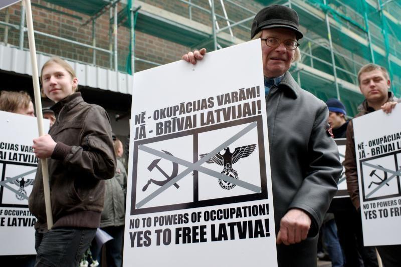 Latvių SS legiono veteranų eitynės Rygoje baigėsi taikiai