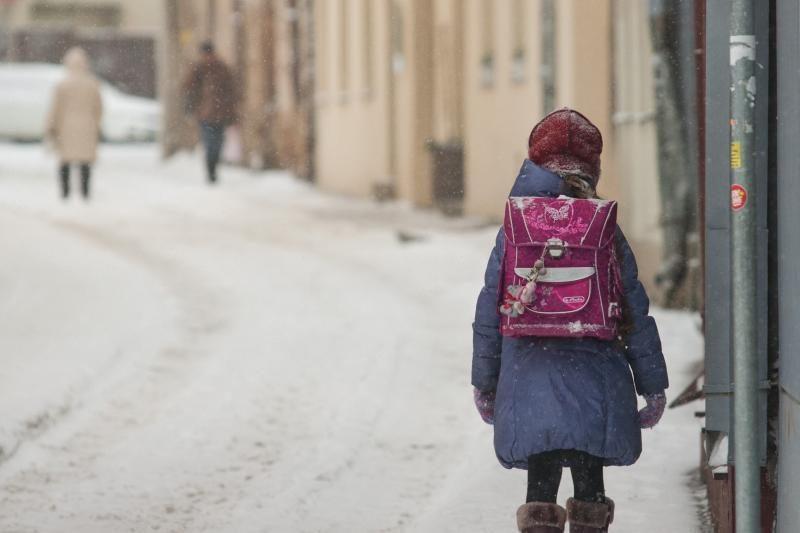 Ministerija perspėja: mokiniai per šalčius į mokyklą neturėtų eiti