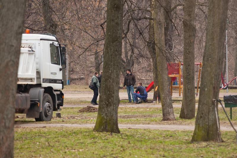 Sereikiškių parke - tinklų tiesimo darbai, archeologiniai kasinėjimai