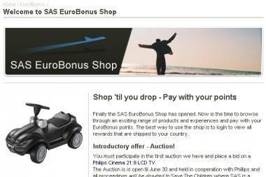 """SAS pristato  """"EuroBonus"""" parduotuvę internete"""