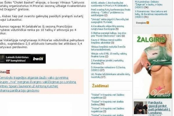 """Erotikos reklamoje – """"Žalgirio"""" vardas"""