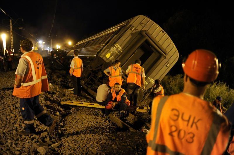 Rusijos pietuose nuo bėgių nulėkus keleiviniam traukiniui sužeisti 76