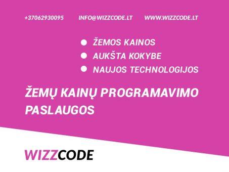 Skelbimas - WIZZCODE - žemų kainų programavimo paslaugos