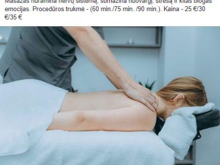 """Skelbimas - Kvalifikuoti masažai prie """"Topolio"""""""
