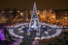 Sostinės Katedros aikštėje suspindo Kalėdų eglė