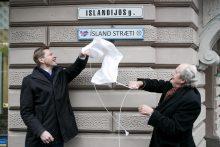 Islandijos gatvės lentelės atidengimo ceremonija
