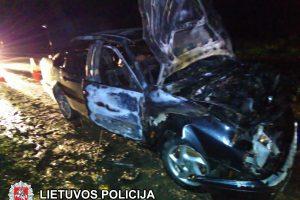 Po stirnos sukeltos avarijos užsidegė automobilis