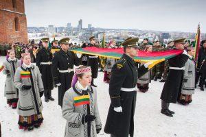 Gedimino bokšto vėliava – Šaukėnų V.  Pūtvio-Putvinskio gimnazijai