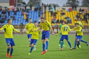 Lietuvos futbolo A lygos rungtynėse – šeši įvarčiai ir raudona kortelė