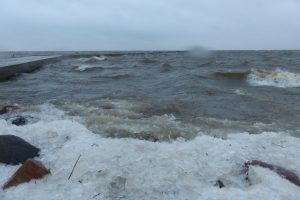 Audra išdraskė Kuršių marių ledą ties Vente