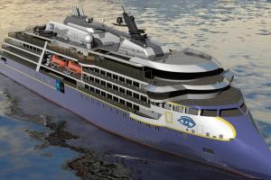 Statomas didžiausio pasaulyje ekspedicinio-kruizinio laivo antstatas