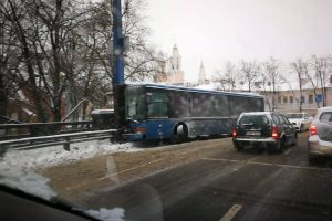 Kaune nuo kelio nuslydus autobusui sužalotos šešios keleivės