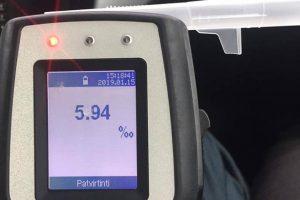Girtumo rekordas Palangoje: pažeidėjas įpūtė 5.94 promilės