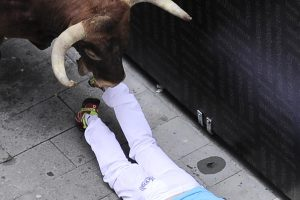 Paskutinis bulių bėgimas Pamplonoje: susižeidė 9 žmonės, subadytų nėra