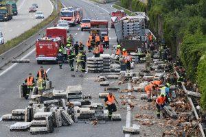 Austrijos automagistralėje eismą blokavo tūkstančiai vištų