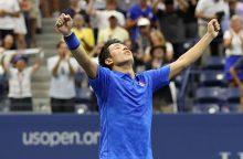 K. Nishikoris pirmasis iškovojo kelialapį į ketvirtfinalį Bazelyje